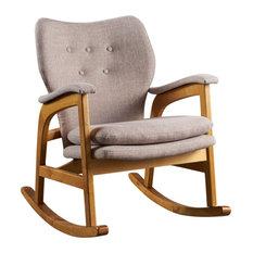 GDF Studio Bethany Mid Century Fabric Rocking Chair, Wheat