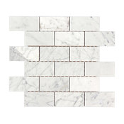 "12""x12"" Bianco Carrara Polished Marble Brick Mosaic Tile"