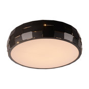 Round Opal Acrylic Flush Mount Ceiling 3500K LED Light, Matte Black, 19-Inch