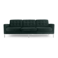 Kardiel Florence Mid-Century Modern 89-inch Fabric Sofa Forest Velvet