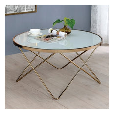 Acme Furniture   ACME Valora Coffee Table, Frosted Glass And Champagne   Coffee  Tables