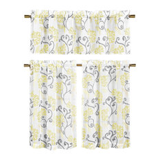 Sheer Window Curtain Set, Floral Vine Design, 2 Tiers, 1 Valance, Yellow Tan