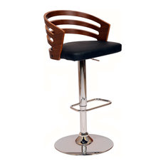 armen living adele swivel bar stool pu with walnut veneer and chrome base