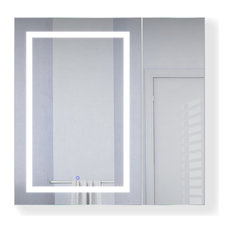 "36""x36"" LED Medicine Cabinet, Dimmer/Defog, Makeup Mirror, and USB, Left Light"