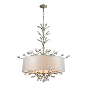 Asbury 6-Light Chandelier, Aged Silver