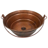 """15"""" Round Copper BUCKET Bathroom Sink in Natural Fired Patina Drain Included"""