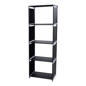Modern Bookcase Organizer, Steel Metal With Multiple Open Compartment, Black