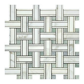 Calacatta Honed Marble Tripleweave Mosaic With Ming Green Dots, 10 sq.ft.