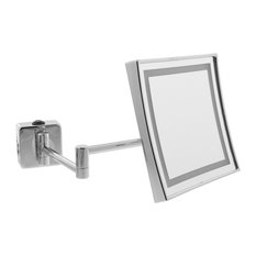 Illuminated Square Wall Mirror, Jointed Arm