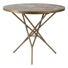 DOVETAIL DANBY Bistro Table Brushed Brass Metal Marble