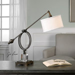 Uttermost - Levisa 1 Light Desk Lamp in Dark Bronze - Sleek Metal Base Finished In A Plated Brushed Dark Bronze Accented With A Thick Crystal Cube. The Suspended Round Hardback Shade Is A White Linen Fabric With Light Slubbing. This Lamp Features An Adjustable Shade Arm And A Pivoting Shade.