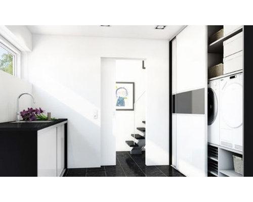buanderie de taille moyenne avec un plan de travail en verre recycl photos et id es d co de. Black Bedroom Furniture Sets. Home Design Ideas