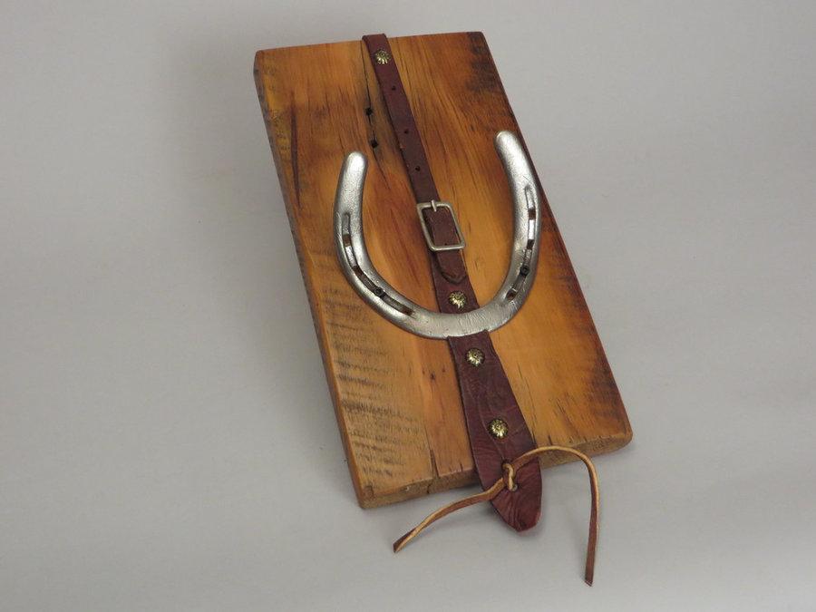 #R15036 Coat Rack Reclaimed Ambrosia Maple, horseshoes, leather.