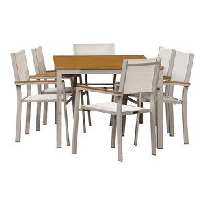 Paphos 7-Piece Dining Set, Sling: Natural, Natural Tekwood