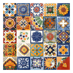 "4""x4"" Assorted Mexican Ceramic Handmade Tiles, 25-Piece Set"