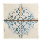 "SomerTile 13""x13"" Artesano Ceramic Floor/Wall Tiles Azul Decor, Set of 10"