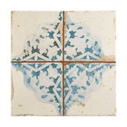 SomerTile Artesano Ceramic Floor and Wall Tile, Azul Decor