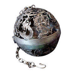 Jade Market Hong Kong Unique and Beautiful Pewter Dragon Globe Incense Burner