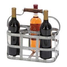 Rufus Galvanized Steel 6-Bottle Wine Holder