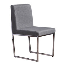 GDFStudio   Delores Modern Fabric Dining Chair With Chrome Fished Iron  Legs, Charcoal   Dining