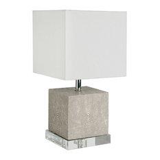 Sturgis Modern Faux Shagreen Grey Acrylic Mini Lamp   Table Lamps
