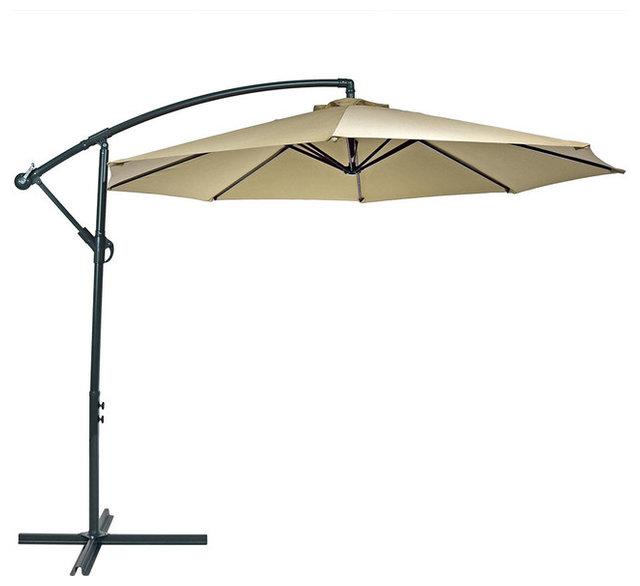 Sunnydaze Steel 10u0027 Offset Patio Umbrella, ...