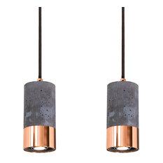 Dark Concrete and Polished Copper Pendant Lights, Set of 2
