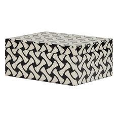 Mika Weave Pattern Box - Black, White Resin, Small