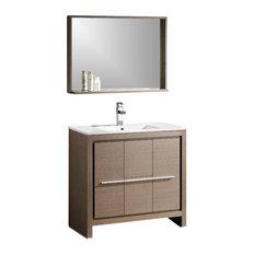"""35.5"""" Single Sink Bathroom Vanity, Gray Oak"""