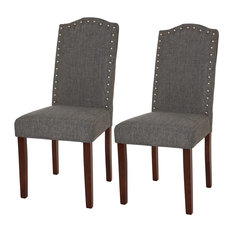 Glitzhome Gray Upholstered Dining Chair With Studded Decoration Set Of 2 Chairs