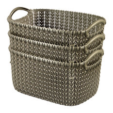 Curver by KNIT Style Resin Rectangular 3-Piece Small Basket Set