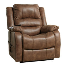 Power Recliner Chair Faux Leather Upholstery Extra Padded Arms And Seat Saddl