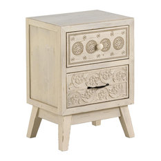 Retro Spruce Wood Carved Bedside Table, 2 Drawers