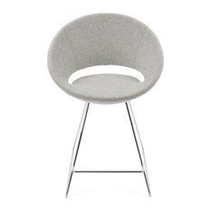 Crescent Wire Stools, Chrome Base, Silver Camira Wool