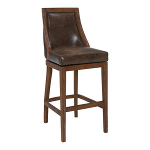 """Safir 26"""" Wood Swivel Counter Stool, Distressed Finish, Brown Stone Faux Leather"""