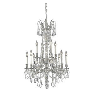 """Rosalia Collection 12-Light 24"""" Pewter Chandelier, Clear Royal Cut Crystals"""