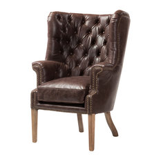 Design Tree Home   Georgian Wingback Leather Chair   Armchairs And Accent  Chairs