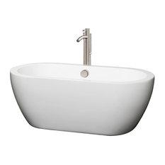 "Soho Freestanding Bathtub, Brushed Nickel, 60"", Faucet: Brushed Nickel"