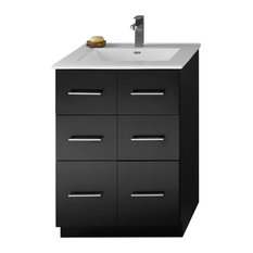 "Ronbow Lassen Solid Wood 24"" Eco-Friendly Vanity Set With Ceramic Sink Top"