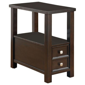 Wicker Basket Storage Side Table In Cherry Finish Tropical