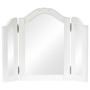 Modern Dressing Table Mirror, White Finished MDF Frame