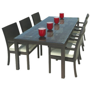 65844be48b Outdoor Wicker Resin 8-Piece Square Dining Table Chairs and Bench ...