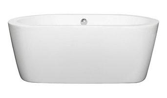 "Mermaid 60"" Freestanding White Bathtub, Polished Chrome Drain and Overflow Trim,"