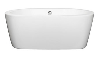 "Mermaid 60"" Freestanding White Bathtub, Polished Chrome Drain and Overflow Trim,"