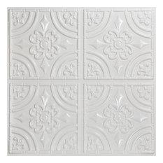 "Wrought Iron, Faux Tin Ceiling Tile, Glue up, 24""x24"", #205, White Pearl"