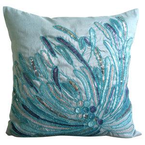 Aqua Sequins And Beaded Blue Art Silk 50x50 Throw Cushion Cover, Water Burst