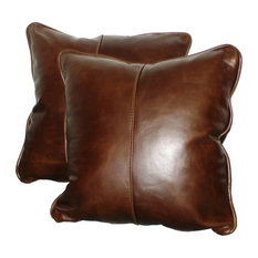 Square Genuine Leather Accent, Throw Pillows, Set Of 2, 16""