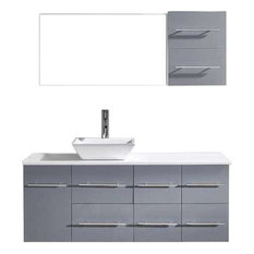 "Ceanna 53"" Vanity, Gray, White Stone, Polished Chrome, White Square"