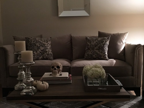 ... Without Making It Too Busy Or Taking Away From The Beautiful Mirror??  Shelves? Candles?? Help! :) Ps.. Not Finished With The Throw Pillows On The  Couch.