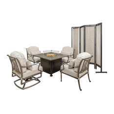 Bel Air 5-Piece Lounge Chairs With Terrace Square Fire Table, No Pillows /Screen